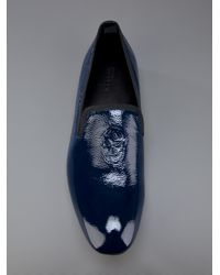 Alexander McQueen - Blue Skull Detail Slipper for Men - Lyst