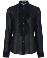 Dolce & Gabbana | Black Detachable Ruffle Shirt | Lyst