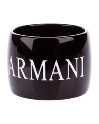 Emporio Armani | Black Wide Bangle | Lyst