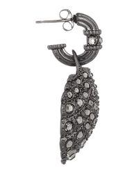 Giles & Brother - Metallic Hematiteplated Crystal Shell Earrings - Lyst