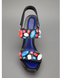KENZO - Black Embellished Sandal - Lyst