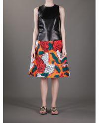 Marni - Orange Floral Print Aline Skirt - Lyst