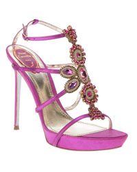Rene Caovilla | Pink Jewel Embellished Sandal | Lyst