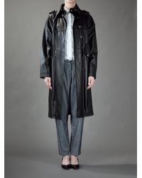 Saint Laurent | Black Leather Coat | Lyst