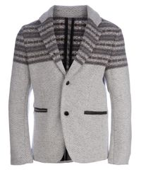 Side Slope | Gray Knitted Jacket for Men | Lyst