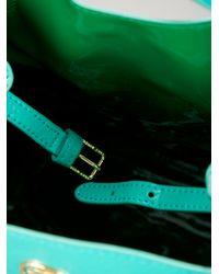 Tory Burch Blue Brand Embossed Tote Bag