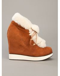 B Store | Brown Salvatore Wedge Ankle Boot | Lyst