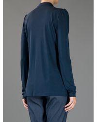 Burberry | Blue Long Sleeve Key Hole Blouse | Lyst
