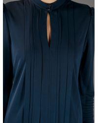 Burberry   Blue Long Sleeve Key Hole Blouse   Lyst