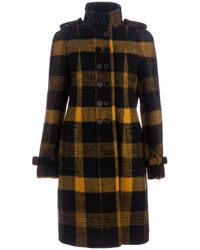 Burberry Prorsum | Black Check Pattern Coat | Lyst