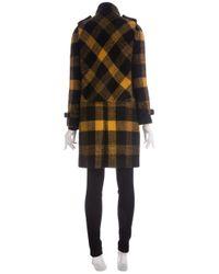 Burberry Prorsum - Black Check Pattern Coat - Lyst