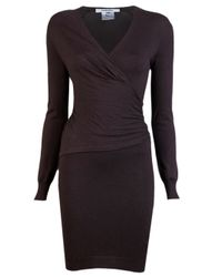 Carven - Brown Wrap Dress - Lyst