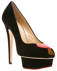 Charlotte Olympia | Black Delphine Court Shoe | Lyst