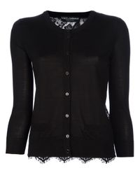 Dolce & Gabbana | Black Lace Panel Cardigan | Lyst