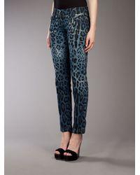 Dolce & Gabbana | Blue Leopard Print Jean | Lyst