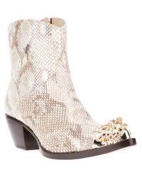 Giancarlo Paoli Natural Python Skin Cuban Heel Boot