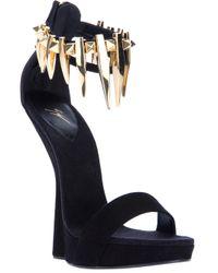 Giuseppe Zanotti | Black Concave Wedge Sandal | Lyst