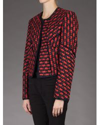 Oscar de la Renta - Red Cropped Jacket - Lyst