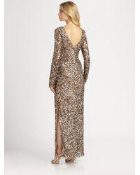 Aidan Mattox - Brown Long-sleeve Sequin Gown - Lyst