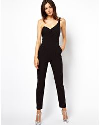 ASOS | Black Jumpsuit with One Shoulder and Open Back | Lyst