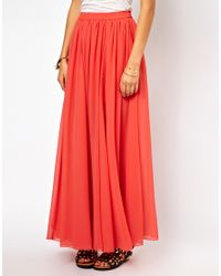 ASOS | Orange Maxi Skirt with Embroidered Trim | Lyst