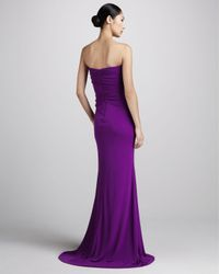 Badgley Mischka - Purple Beaded Jersey Mermaid Gown - Lyst