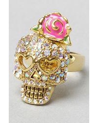 Betsey Johnson - Metallic The Crystal Skull Ring - Lyst