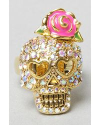 Betsey Johnson - Metallic The Crystal Skull Ring - Lyst