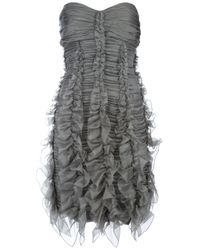 1c64ec10c22b Lyst - Burberry Prorsum Ruched Strapless Dress in Gray