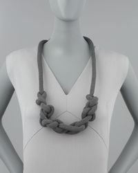 Donna Karan - Gray Lightweight Knotted Necklace  - Lyst