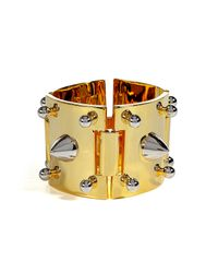 Eddie Borgo | Metallic Gold Cuff with Silver Studs | Lyst