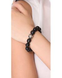 Elizabeth and James - Black Shaman Beaded Bracelet with Textured Metal Bead - Lyst
