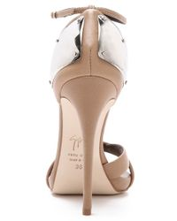 Giuseppe Zanotti - Natural Ankle Strap Sandals with Metal Detail - Lyst