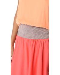 Halston Heritage | Orange Tie Shoulder Colorblock Dress | Lyst