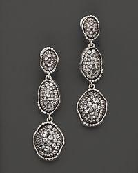 "Judith Ripka - Metallic Sterling Silver ""Mercury"" Organic Triple Drop Earrings With White Sapphires - Lyst"