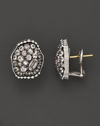"Judith Ripka | Metallic Sterling Silver ""Mercury"" Stud Earrings With White Sapphires 