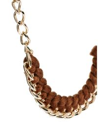 Kasturjewels | Brown Gold Plated Knotted Thread Necklace | Lyst
