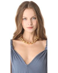 Kenneth Jay Lane - Metallic Textured Link Toggle Necklace - Lyst