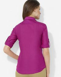 Pink Pony - Purple Lauren Silk-cotton Turtleneck Top - Lyst