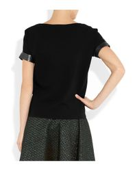 Maje | Gray Metallic Leather and Stretchcotton Top | Lyst