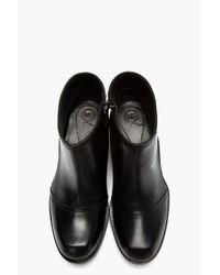 McQ | Black Leather Flat Zip Biker Boot | Lyst