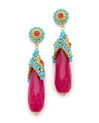 Miguel Ases - Pink Cup Beaded Earrings - Lyst