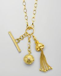 Monica Rich Kosann | Metallic 18k Gold Tassel/toggle/ball Charm Necklace | Lyst