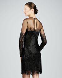 Naeem Khan - Black Beaded Fringed Cocktail Dress - Lyst