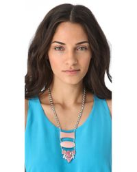 Noir Jewelry | Pink Barbados Drop Down Necklace | Lyst