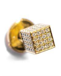 Noor Fares - Metallic Diamond & Gold Asymmetrical Cube Earrings - Lyst