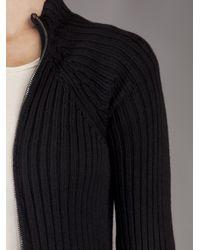 Plein Sud Jeanius - Black Ribbed Zip Sweater - Lyst