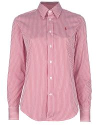 24684c152e Lyst - Ralph Lauren Blue Label Striped Shirt in Red
