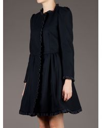 RED Valentino Black Cinched Waist Coat