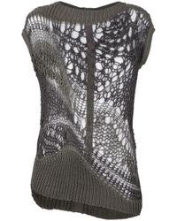 Rick Owens | Gray Crochet Knit Sweater | Lyst